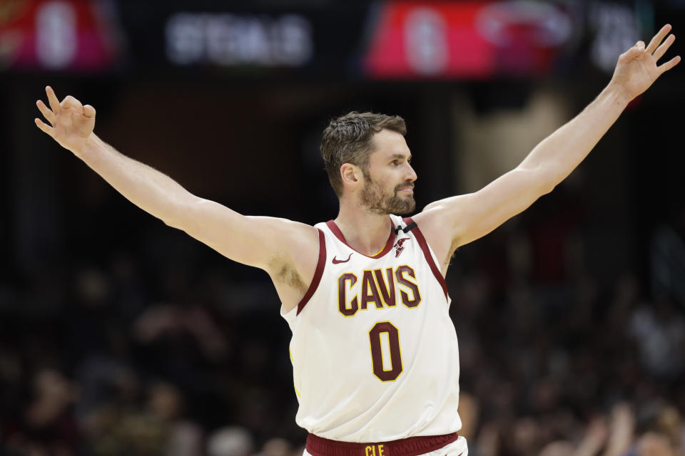 Cleveland Cavaliers' Kevin Love celebrates in the second half of an NBA basketball game against the Miami Heat, Monday, Feb. 24, 2020, in Cleveland. (AP Photo/Tony Dejak)