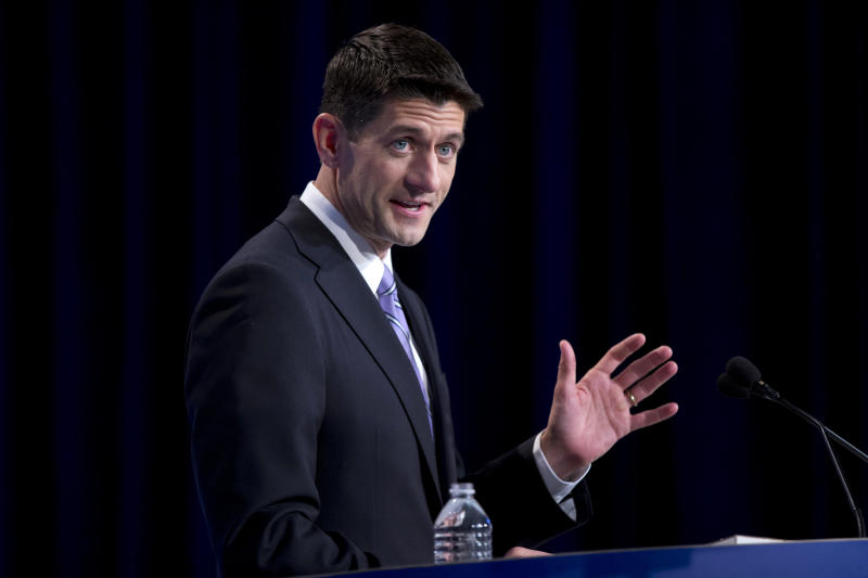 Republican vice presidential candidate, Rep. Paul Ryan, R- Wis. speaks at the Values Voters Summit in Washington, Friday, Sept. 14, 2012.  (AP Photo/ Evan Vucci)
