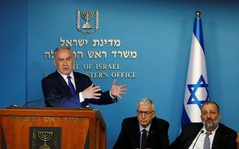"""<span>Benjamin Netanyahu said Israel had reached """"unprecedented common understanding"""" with the UN High Commissioner for Refugees over the fate of the asylum seekers</span> <span>Credit: REUTERS/Ronen Zvulun </span>"""