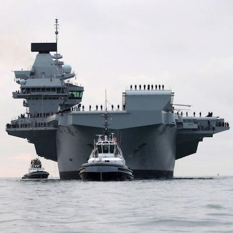 HMS Queen Elizabeth, the UK's newest aircraft carrier, arriving in Portsmouth - Credit: Ian Simpson/Royal Navy/PA