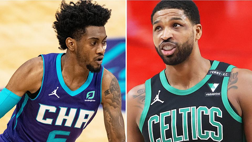 Charlotte's Jalen McDaniels and Boston's Tristan Thompson are two players likely to be available on waivers who could be useful for your fantasy squad this week. Pictures: Getty Images