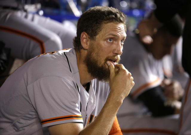 "<a class=""link rapid-noclick-resp"" href=""/mlb/players/7963/"" data-ylk=""slk:Hunter Pence"">Hunter Pence</a> has a good sense of humor, at least. (AP Photo)"
