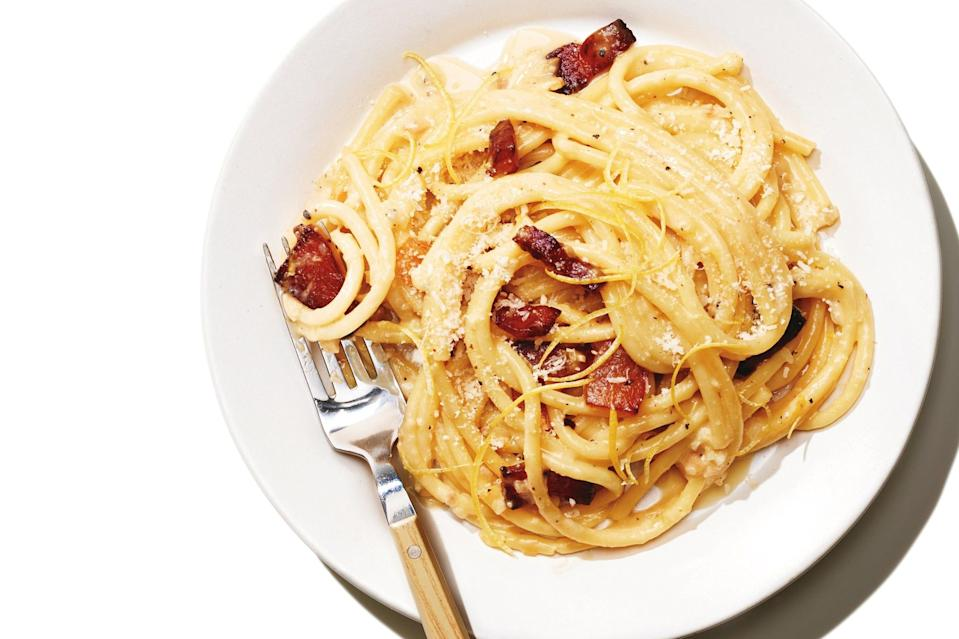"Lemon is the perfect foil for carbonara's salty richness. You may never go back to the regular stuff. <a href=""https://www.epicurious.com/recipes/food/views/bucatini-with-lemony-carbonara?mbid=synd_yahoo_rss"" rel=""nofollow noopener"" target=""_blank"" data-ylk=""slk:See recipe."" class=""link rapid-noclick-resp"">See recipe.</a>"