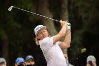 Cameron Smith, of Australia, watches his drive off the ninth tee during the second round of the RBC Heritage golf tournament in Hilton Head Island, S.C., Friday, April 16, 2021. (AP Photo/Stephen B. Morton)