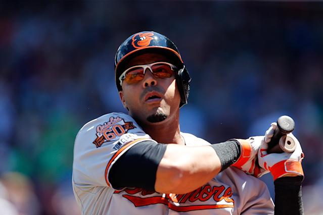 Nelson Cruz of the Baltimore Orioles takes part in the game against the Boston Red Sox at Fenway Park on July 6, 2014 in Boston, Massachusetts (AFP Photo/Jim Rogash)