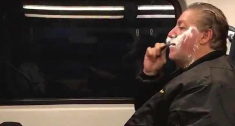 The truth behind the viral New Jersey video of Anthony Torres shaving his face on a train.