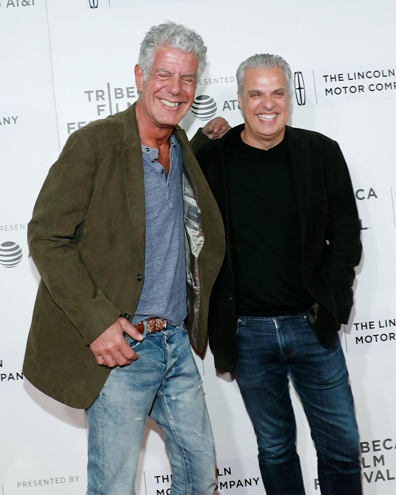 Anthony Bourdain and Eric Ripert at the 2017 Tribeca Film Festival on April 22, 2017, in New York City. (Photo: Taylor Hill via Getty Images)