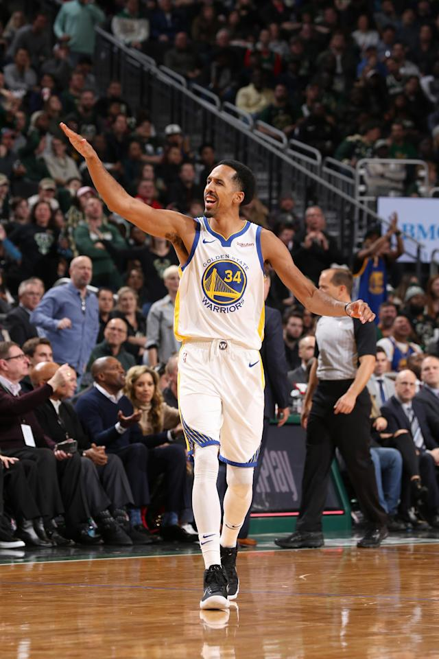 MILWAUKEE, WI - DECEMBER 7: Shaun Livingston #34 of the Golden State Warriors reacts to a play during the game against the Milwaukee Bucks on December 7, 2018 at the Fiserv Forum in Milwaukee, Wisconsin. (Photo by Gary Dineen/NBAE via Getty Images)