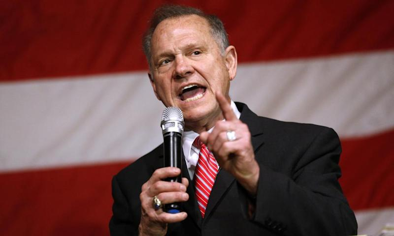 Roy Moore speaks during a campaign event in Fairhope, Alabama.