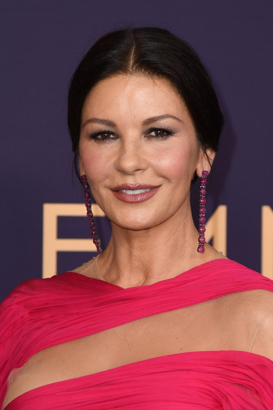 Welsh actress Catherine Zeta-Jones arrives for the 71st Emmy Awards at the Microsoft Theatre in Los Angeles on September 22, 2019. (Photo by Robyn Beck / AFP)        (Photo credit should read ROBYN BECK/AFP/Getty Images)