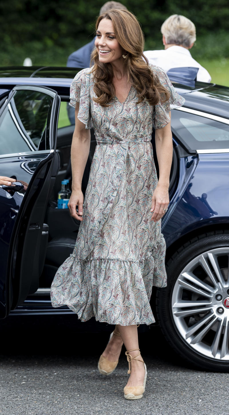 The Duchess of Cambridge wore a breezy paisley print dress for the Kingston engagement [Photo: Getty]