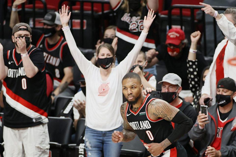 Home fans cheering during a Trail Blazers vs Nuggets NBA game