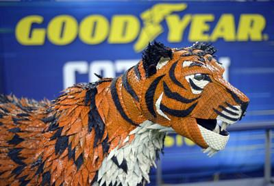 Goodyear unveils life-sized mascot tire art of the University of Memphis' Tom the Tiger for the 84th Goodyear Cotton Bowl Classic on Thursday, Dec. 26, 2019, at AT&T Stadium in Arlington, Texas. The Tom the Tiger statue was constructed from more than145 hand-painted Goodyear tires, 150 hidden screws and 8,000 crown staples. (Matt Strasen/AP Images for Goodyear)