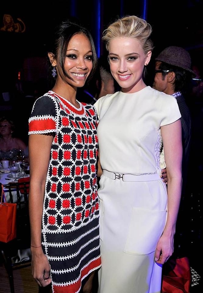 "Lovely ladies Zoe Saldana (left) and Amber Heard also took part in the evening's festivities. ""So happy & humbled to be here supporting my friends, family & colleagues!"" Zoe tweeted from the event. ""Raise awareness & stand up against bullying!"" (12/4/2011)"