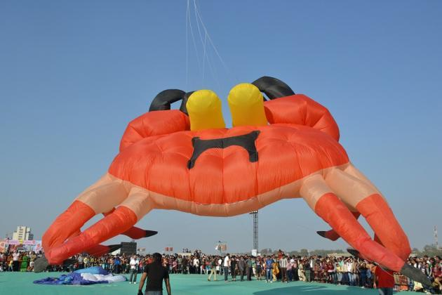 "A kite shaped like a multitentacled spider balloons up before it is airborne <br><br>Photo by Yahoo! reader <a target=""_blank"" href=""https://www.flickr.com/photos/61545942@N08/"">Nisarg Lakhmani</a>"