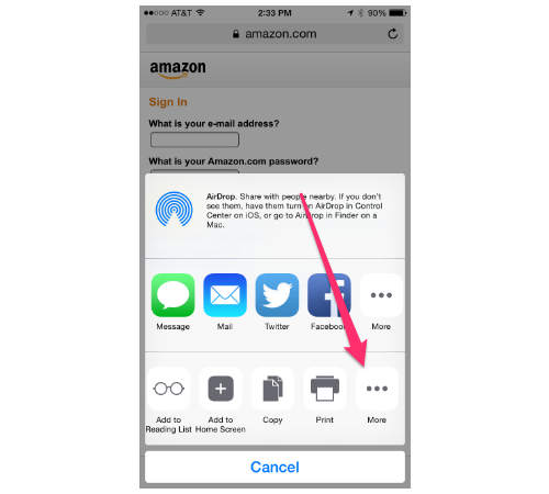iPhone 6 AirDrop sharing screen