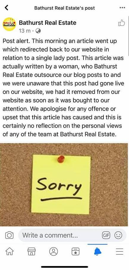 Bathurst Real Estate Agent apology for the blog post