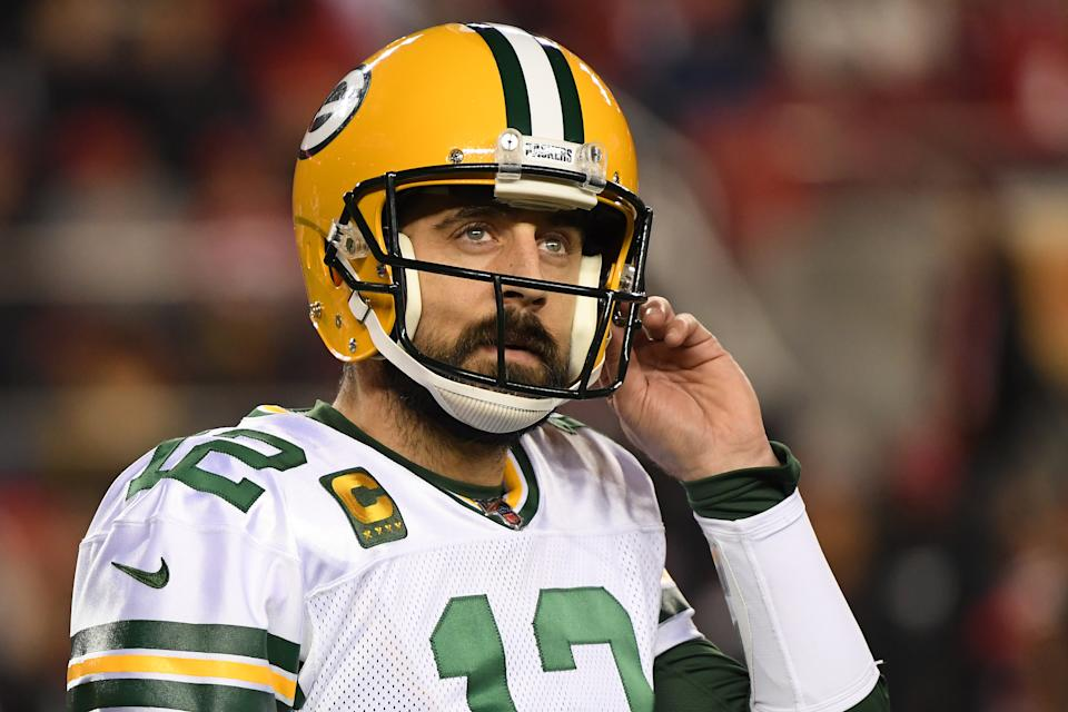 SANTA CLARA, CALIFORNIA - JANUARY 19: Aaron Rodgers #12 of the Green Bay Packers reacts after a play against the San Francisco 49ers during the NFC Championship game at Levi's Stadium on January 19, 2020 in Santa Clara, California. (Photo by Harry How/Getty Images)