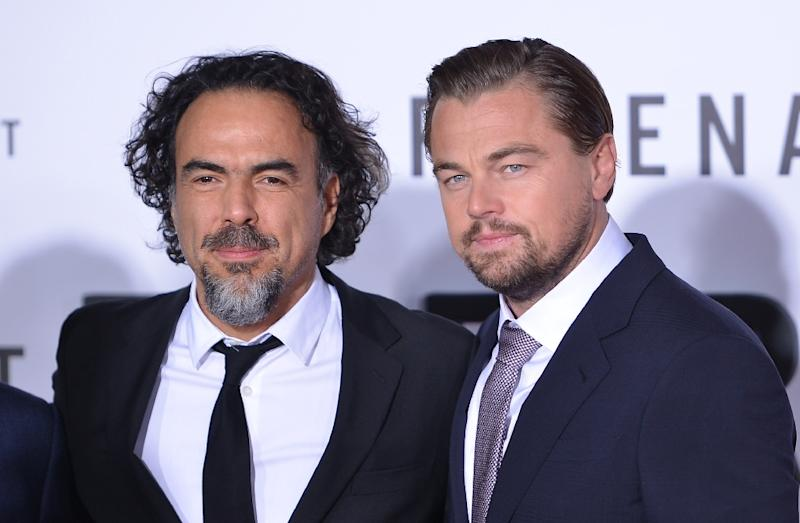 "Actor Leonardo DiCaprio, pictured with ""The Revenant"" director Alejandro Gonzalez Inarritu, is in the race for the best actor Golden Globe in a drama"