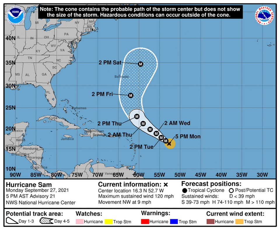Hurricane Sam was a Category 3 storm with 120 mph maximum sustained winds.