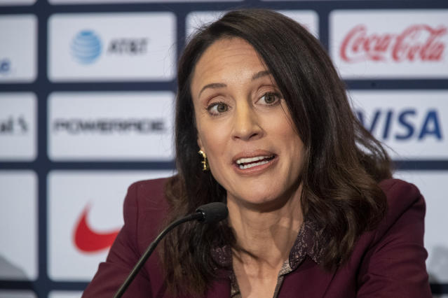 Kate Markgraf, general manager of the United States women's national soccer team, speaks during a news conference Monday, Oct. 28, 2019, in New York. U.S. Soccer president Carlos Cordeiro named Vlatko Andonovski as head coach in U.S. Women's National Team on Monday. (AP Photo/Mary Altaffer)