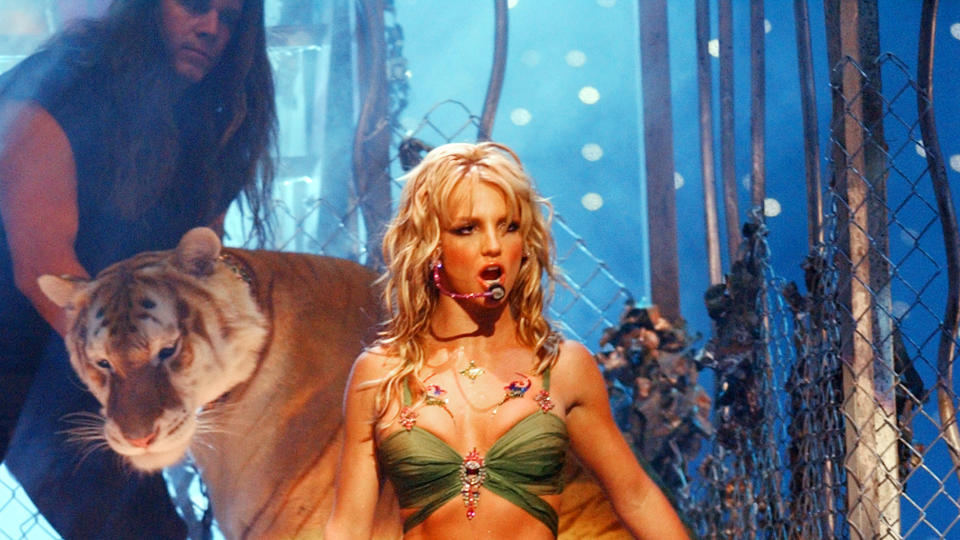Doc Antle appeared on stage with Britney Spears at the 2001 VMAs. (Photo by KMazur/WireImage)