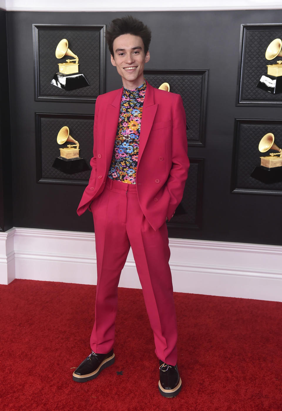 Jacob Collier arrives at the 63rd annual Grammy Awards at the Los Angeles Convention Center on Sunday, March 14, 2021. (Photo by Jordan Strauss/Invision/AP)