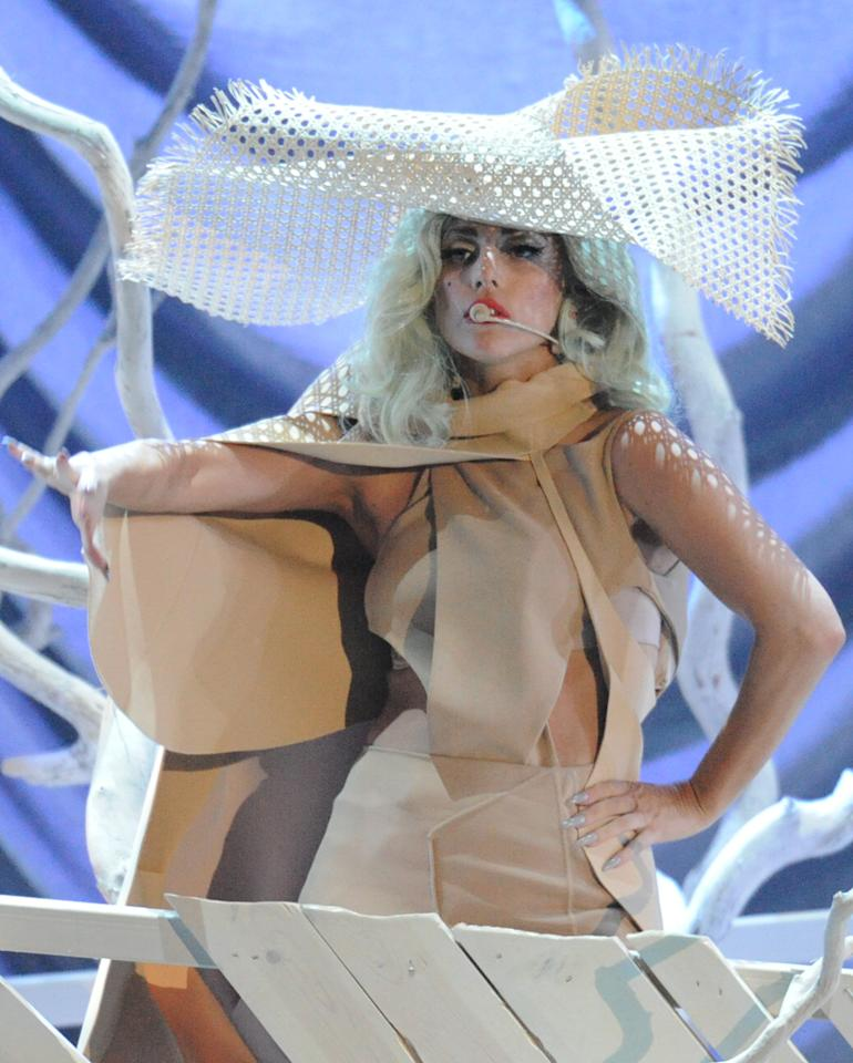 "Lady Gaga performs at the ""A Decade of Difference"" concert on October 15, 2011, at the Hollywood Bowl, Los Angeles. <br><br>(Photo by Stephanie Cabral/Yahoo!)<br><br><a href=""http://news.yahoo.com/blogs/the-difference/clinton-concert-video-watch-lady-gaga-perform-164634528.html"">Watch Lady Gaga's entire performance</a>"