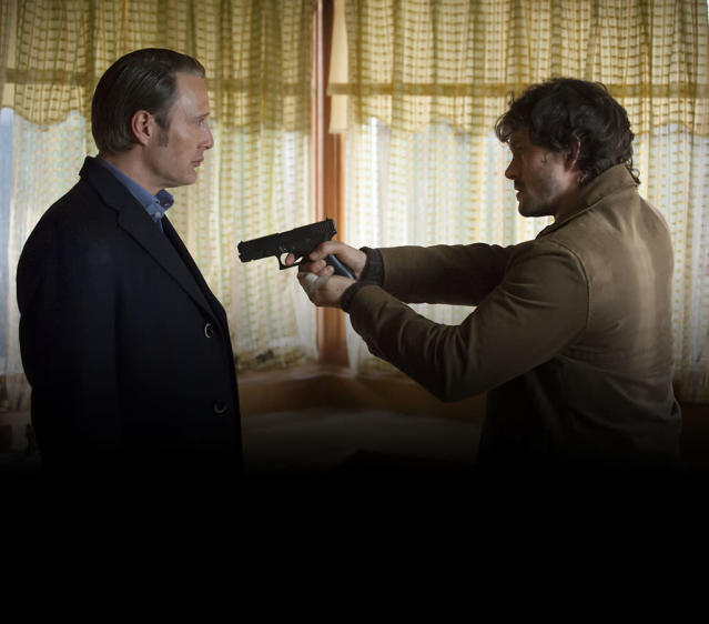 """HANNIBAL -- """"Savoureux"""" Episode 113 -- Pictured: (l-r) Mads Mikkelson as Dr. Hannibal Lecter, Hugh Dancy as Will Graham -- (Photo by: Brooke Palmer/NBC)"""