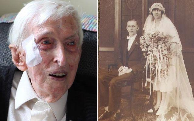 Alfred Date in 2015 (left) and 21-year-old Alfred his first wife Muriel on their wedding day in 1926.
