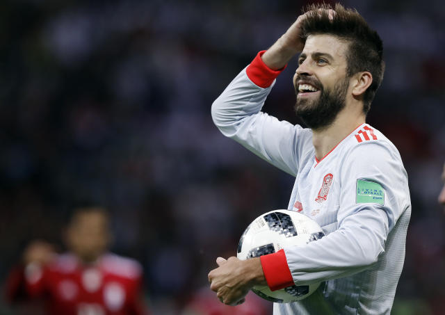 <p>The 31-year-old defender, who is Colombian singer Shakira's boyfriend, played in the opening game draw against Switzerland. Currently plying his trade at FC Barcelona, he started out as a striker at Manchester United. (PHOTO: AP) </p>
