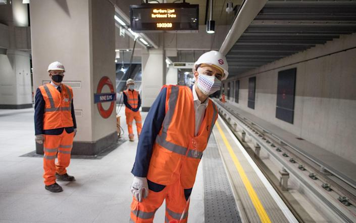 Mayor of London, Sadiq Khan visits Nine Elms station on the Northern Line extension to see the ticket hall and platforms as work is completed - Stefan Rousseau/PA Wire