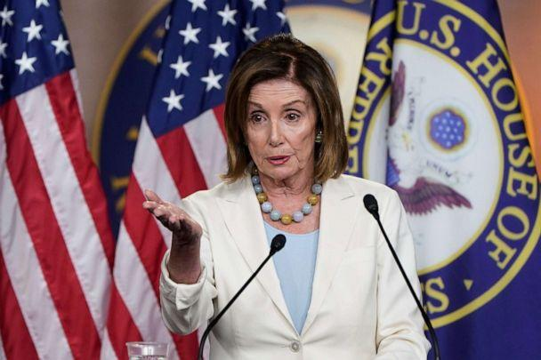 PHOTO: Speaker of the House Nancy Pelosi speaks during a media briefing on Capitol Hill in Washington, July 17, 2019. (Joshua Roberts/Reuters)