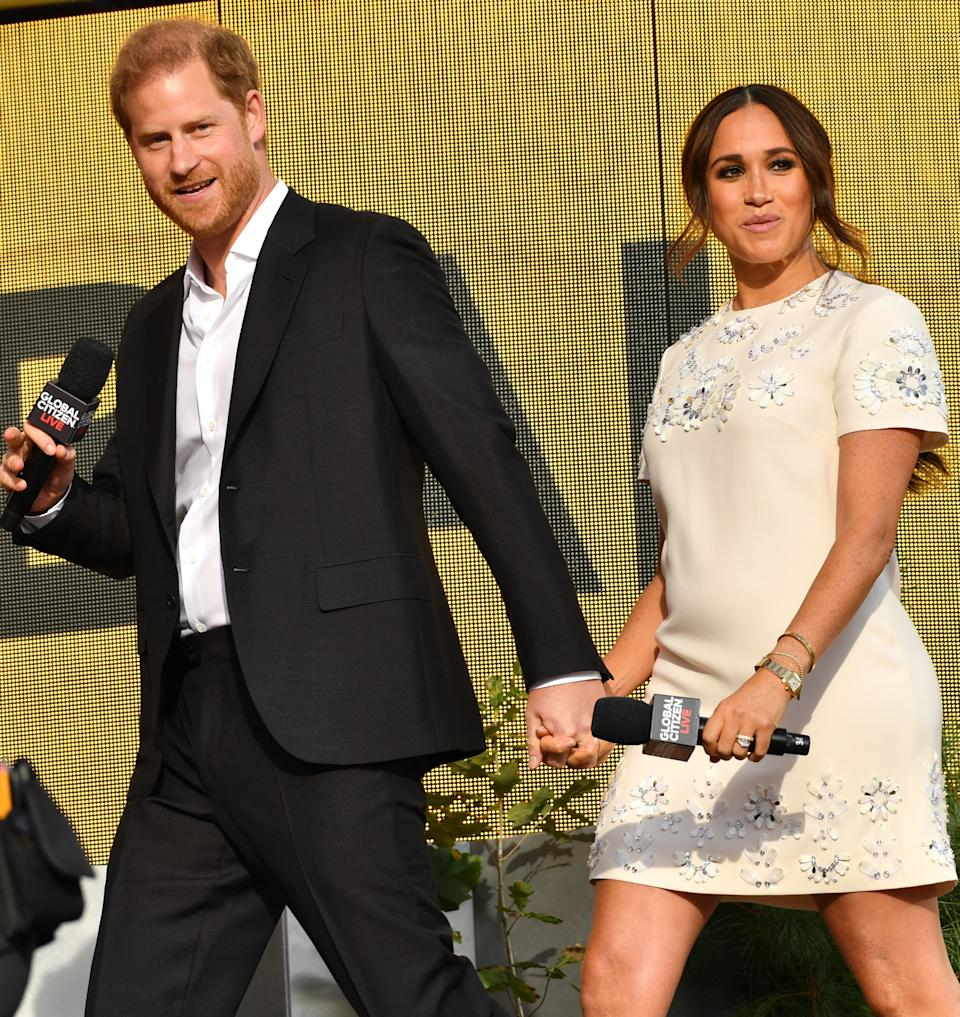 Meghan Markle and Prince Harry on stage in New York