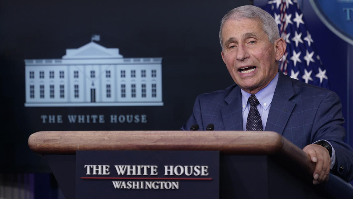 Anthony Fauci, director of the National Institute of Allergy and Infectious Diseases, speaks during a news conference in the White House in Washington, D.C., U.S., on Thursday, Nov. 19, 2020. (Chris Kleponis/CNP/Bloomberg via Getty Images)