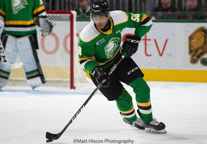 Defenseman Bryce Montgomery of the London Knights was a sixth-round pick by the Carolina Hurricanes in the 2021 NHL Entry Draft.
