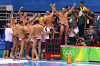 <p>Team Serbia celebrate winning the Men's Water Polo Gold Medal match between Croatia and Serbia on Day 15 of the Rio 2016 Olympic Games at the Olympic Aquatics Stadium on August 20, 2016 in Rio de Janeiro, Brazil. (Photo by Ryan Pierse/Getty Images) </p>