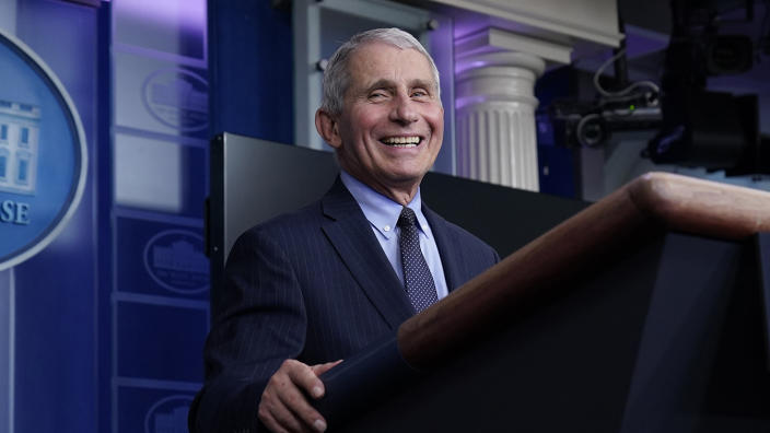 Dr. Anthony Fauci, director of the National Institute of Allergy and Infectious Diseases, laughs while speaking in the James Brady Press Briefing Room at the White House, Thursday, Jan. 21, 2021, in Washington. (Alex Brandon/AP)