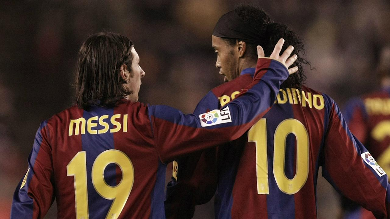 The Brazilian superstar took credit for Messi's first in Barca colours, while his Argentina team-mate told him to keep smashing records