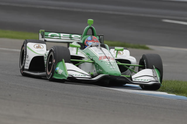 Colton Herta steers his car during qualifications for the Indy GP IndyCar auto race at Indianapolis Motor Speedway, Friday, May 10, 2019 in Indianapolis. (AP Photo/Darron Cummings)