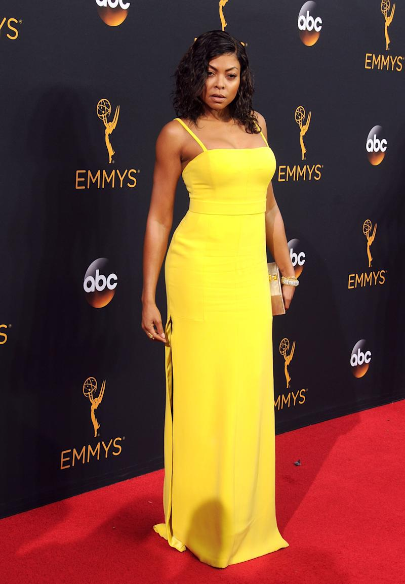 Taraji P. Henson, in yellow Vera Wang, attends the 68th Annual Primetime Emmy Awards at Microsoft Theater on September 18, 2016 in Los Angeles, California.