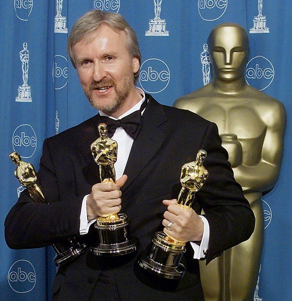 "<p>James Cameron proclaimed himself to be ""King of the World"" after winning Best Director for <em><a href=""https://www.goodhousekeeping.com/life/a47274/titanic-cuddling-couple-true-story/"" rel=""nofollow noopener"" target=""_blank"" data-ylk=""slk:Titanic"" class=""link rapid-noclick-resp"">Titanic</a></em>. It won 10 other awards that night, including Best Picture.</p><p><strong>RELATED:</strong> <a href=""https://www.goodhousekeeping.com/life/g19809308/titanic-facts/"" rel=""nofollow noopener"" target=""_blank"" data-ylk=""slk:30 Mind-Blowing Facts About the Titanic"" class=""link rapid-noclick-resp"">30 Mind-Blowing Facts About the Titanic</a></p>"