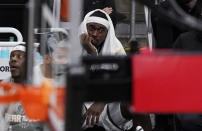 Milwaukee Bucks center Bobby Portis reacts during during the second half of the team's loss to the Atlanta Hawks in Game 4 of the NBA basketball Eastern Conference finals Tuesday, June 29, 2021, in Atlanta. (AP Photo/Brynn Anderson)
