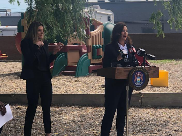 Gov. Gretchen Whitmer announces an incentive program for workers returning to the job and a $1.4 billion plan to expand access to child care during a news conference at a Troy daycare center on Monday, June 14, 2021.