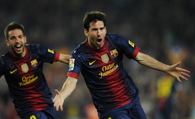 BARCELONA, SPAIN - OCTOBER 07: Lionel Messi (R) of Barcelona celebrates scoring besides his teammate Jordi Alba during the la Liga match between FC Barcelona and Real Madrid at the Camp Nou stadium on October 7, 2012 in Barcelona, Spain. (Photo by Jasper Juinen/Getty Images)