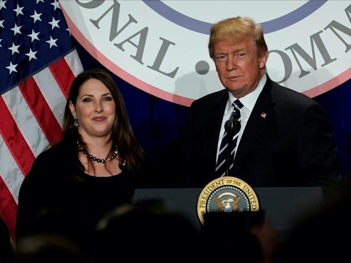 President Donald Trump is introduced by RNC chairwoman Ronna McDaniel at the Republican National Committee's winter meeting at the Washington Hilton in Washington, DC, February 1, 2018.