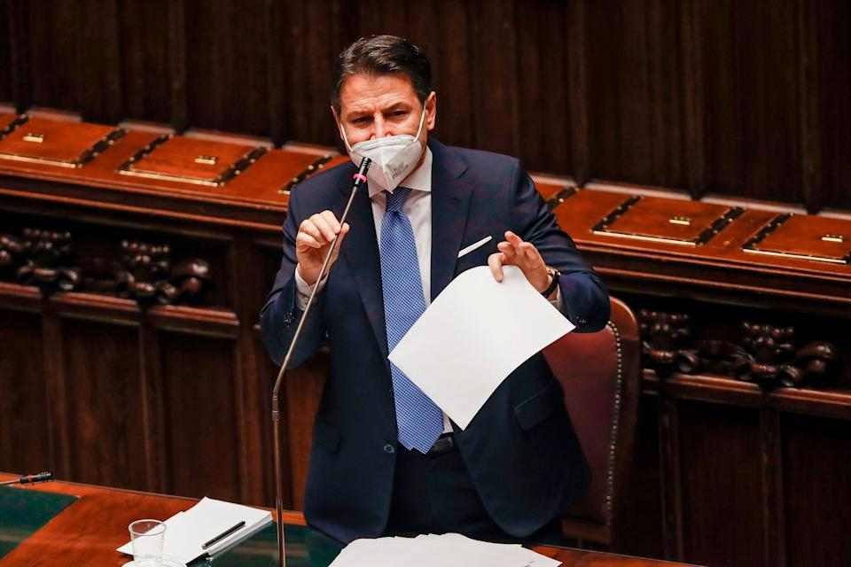 Italy's Prime Minister Giuseppe Conte addresses on January 18, 2021 the lower house of parliament at Palazzo Montecitorio in Rome, seeking a show of support with lawmakers ahead of a crucial vote in the upper Senate the following day. - Conte's coalition government, which has been in power since September 2019, was plunged into turmoil by the withdrawal last week of former premier Matteo Renzi's Italia Viva party. (Photo by Alessandra Tarantino / POOL / AFP) (Photo by ALESSANDRA TARANTINO/POOL/AFP via Getty Images) (Photo: ALESSANDRA TARANTINO via Getty Images)