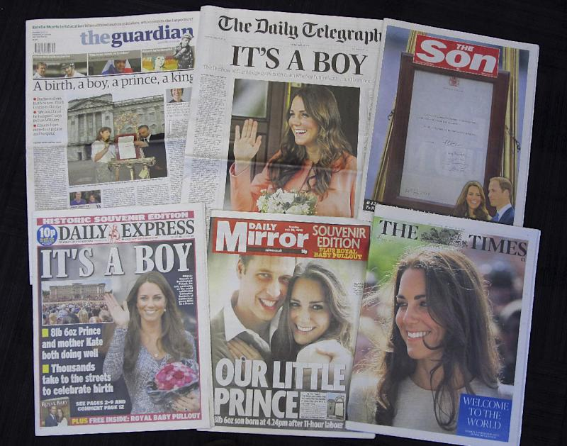 First day of parenting faces William and Kate