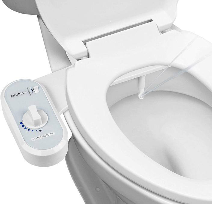 """The Greenco Bidet Fresh Water Spray Non-Electric Mechanical Bidet Toilet Seat Attachment has 3,000 reviews. Find it for $60 on <a href=""""https://amzn.to/2Qobn5X"""" rel=""""nofollow noopener"""" target=""""_blank"""" data-ylk=""""slk:Amazon"""" class=""""link rapid-noclick-resp"""">Amazon</a>."""