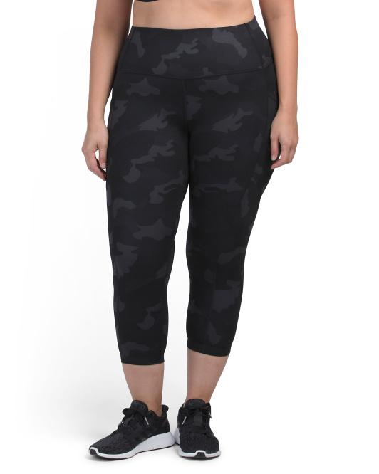 Plus Lux Print High Rise Side Pockets Capris